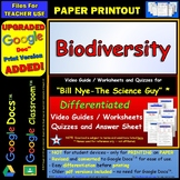 Differentiated Video Worksheet, Quiz & Ans. for Bill Nye - Biodiversity *