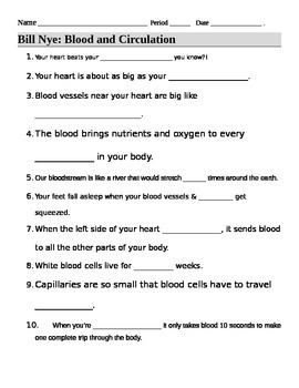 bill nye blood circulation video guide sheet by jjms tpt. Black Bedroom Furniture Sets. Home Design Ideas