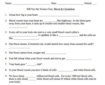 Bill Nye Blood & Circulation Video Worksheet