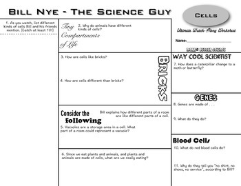 Bill Nye - Cells - Ultimate Watch-Along Worksheet