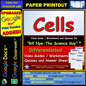 Differentiated Video Worksheet, Quiz & Ans. for Bill Nye - Cells *