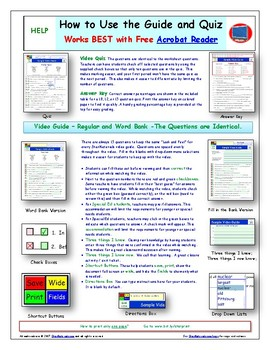 """Cells iPad Worksheet, Ans Sheet, and Quiz For """"Bill Nye**"""" Video"""