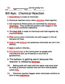 Bill Nye Chemical Reactions Guide Sheet