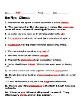 Bill Nye Climate Video Guide Sheet