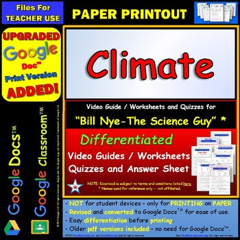 Differentiated Video Worksheet, Quiz & Ans. for Bill Nye - Climate *
