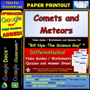Differentiated Video Worksheet, Quiz & Ans. for Bill Nye - Comets and Meteors *