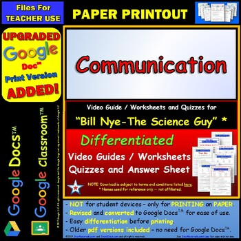 Differentiated Video Worksheet, Quiz & Ans. for Bill Nye - Communication *