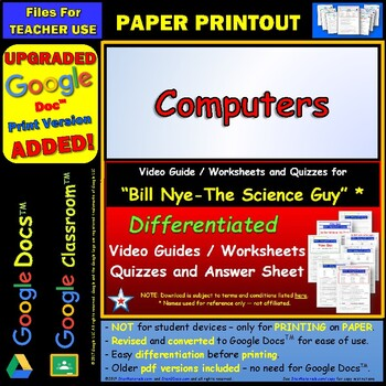 Differentiated Video Worksheet, Quiz & Ans. for Bill Nye - Computers *