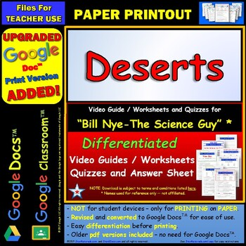 Differentiated Video Worksheet, Quiz & Ans. for Bill Nye - Deserts *