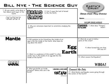 Bill Nye - Earth's Crust - Ultimate Watch-Along Worksheet