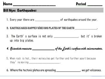 Bill Nye Earthquakes Video Worksheet