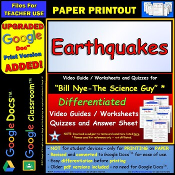Bill Nye - Earthquakes – Worksheet, Answer Sheet, and Two