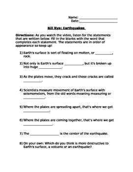 Bill Nye Earthquakes Note Taking Sheet
