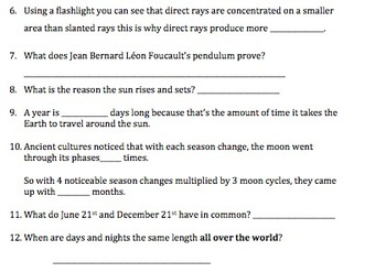 Bill Nye Earth's Seasons Video Worksheet