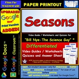 Differentiated Video Worksheet, Quiz & Ans. for Bill Nye - Earth's Seasons *