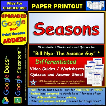 Bill Nye - Earth's Seasons – Worksheet, Answer Sheet, and