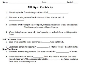 Bill Nye Electricity Video Worksheet by Mayberry in Montana | TpT
