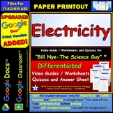Differentiated Video Worksheet, Quiz & Ans. for Bill Nye - Electricity *