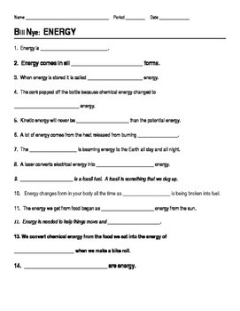 bill nye energy video guide sheet by jjms teachers pay teachers rh teacherspayteachers com Bill Nye Heat Worksheet Answers Bill Nye Heat YouTube