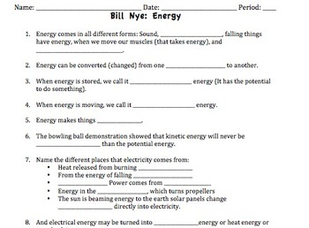 Bill Nye Energy Video Worksheet by Mayberry in Montana | TpT