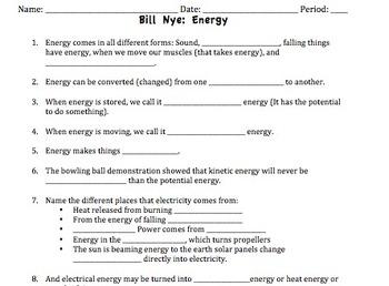 Bill Nye Energy Video Worksheet