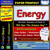 Differentiated Video Worksheet, Quiz & Ans. for Bill Nye - Energy *