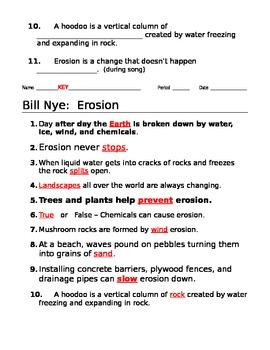 Bill Nye Erosion Video Guide by jjms | Teachers Pay Teachers