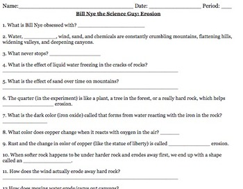 Bill Nye Erosion Worksheets & Teaching Resources | TpT