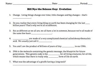 Bill Nye Evolution Video Worksheet