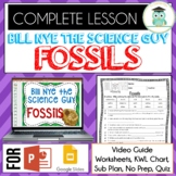 Bill Nye FOSSILS Video Guide, Quiz, Sub Plan, Worksheets, No Prep Lesson