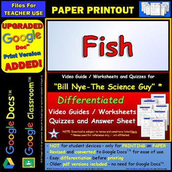 Differentiated Video Worksheet, Quiz & Ans. for Bill Nye - Fish *