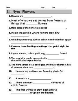 bill nye flowers video guide sheet by jjms teachers pay teachers. Black Bedroom Furniture Sets. Home Design Ideas