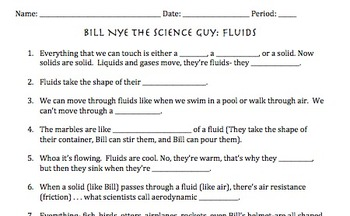 Bill Nye Fluids Video Worksheet