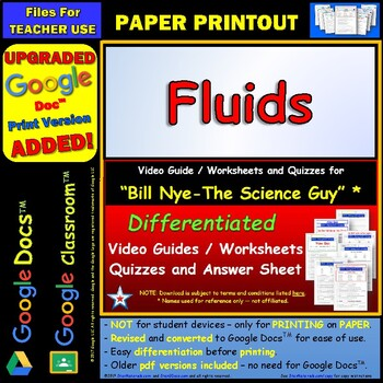 Differentiated Video Worksheet, Quiz & Ans. for Bill Nye - Fluids *