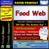 Bill Nye - Food Web – Worksheet, Answer Sheet, and Two Quizzes.
