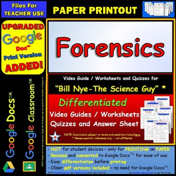 Differentiated Video Worksheet, Quiz & Ans. for Bill Nye - Forensics *