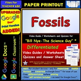 Differentiated Video Worksheet, Quiz & Ans. for Bill Nye - Fossils *