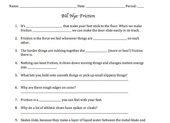Bill nye friction video worksheet answer key