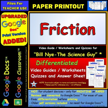 Differentiated Video Worksheet, Quiz & Ans. for Bill Nye - Friction *