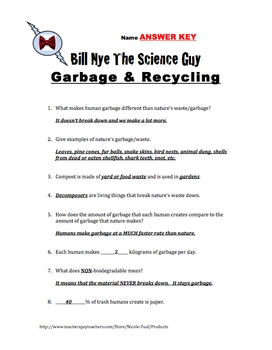 Bill Nye - Garbage & Recycling- 14Q's & Science Student Karaoke