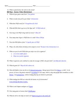 Bill Nye Genes Video Guide Sheet