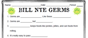Bill Nye Germs Worksheets & Teaching Resources | TpT