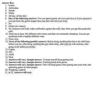 Bill Nye Germs Video Worksheet (Immune System)