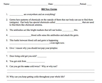 Bill Nye Germs Video Worksheet (Immune System)