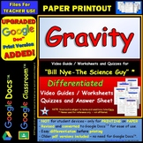 Bill Nye - Gravity – Worksheet, Answer Sheet, and Two Quizzes.