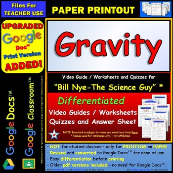 Differentiated Video Worksheet, Quiz & Ans. for Bill Nye - Gravity *
