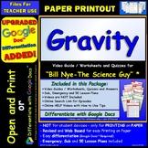Video Guide, Quiz for Bill Nye – Gravity * PRINTING Google Doc™/pdf