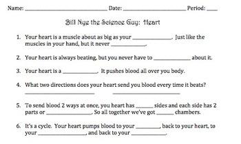 Bill Nye Heart Video Worksheet by Mayberry in Montana | Teachers ...