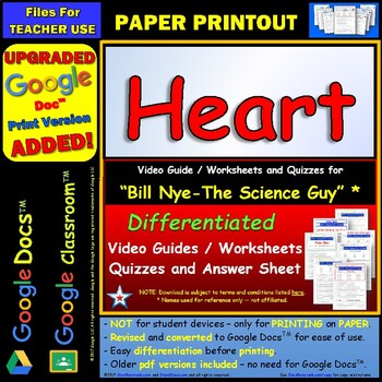 Differentiated Video Worksheet, Quiz & Ans. for Bill Nye - Heart *