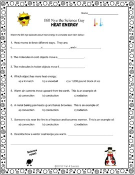 Heat Energy Video Response Form Bill Nye the Science Guy Worksheet